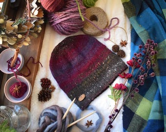Plum, Purple, and Grey Tweed Knit Hat- wool and alpaca- winter hat- knit hat