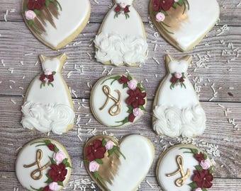 Bridal Shower Cookies, Wedding Cookies, Wedding Sugar Cookies, Wedding Decorated Cookies, Shower Cookies (1 dozen cookies)