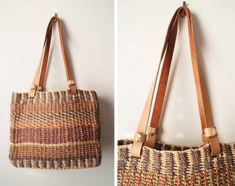 Vintage Sisal Market Shoulder Bag Medium Size with Genuine Leather Strap
