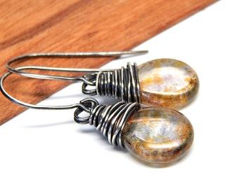 Bohemian silver jewelry, bohemian earrings, rustic earrings, brown glass jewelry, sterling silver