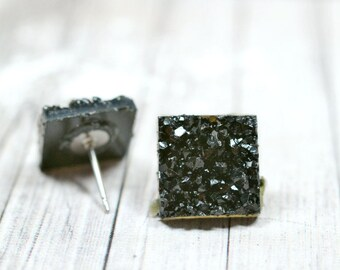 Shiny Black Druzy Earrings, 12mm Square Faux Druzy Studs Metallic Glitter Posts, Glittering Jet Black Stainless Steel