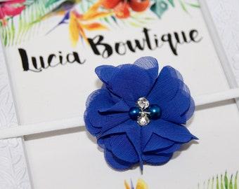 Royal Blue Chiffon Flower Headband with Rhinestone and Pearl Embelishments, Toddler Blue Headband, Nylon Baby Headband