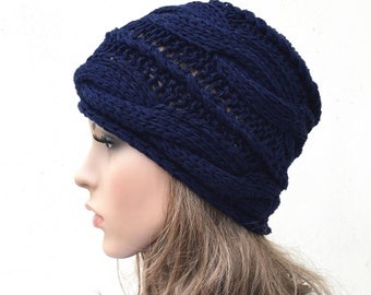 Hand knit woman hat Navy wool hat cable hat Womens Accessories Winter Hat