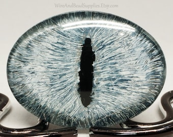 Glass Eye Gray and Silver Dragon Eye Cabochon 40x30mm Hand Painted