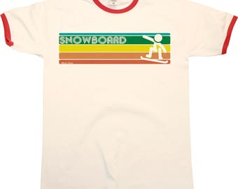 Retro SNOWBOARD Strip Mens RINGER T-Shirt Snowboarding New