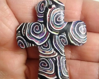 Cross Pendant, Jewelry Supplies, Polymer Clay, Spiral Cane, Multi Color, Add Cord