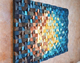 Wood wall art - The universe, Reclaimed Wood Art, 3 d wall art decor, Wood mosaic, Wood sculpture, Abstract painting