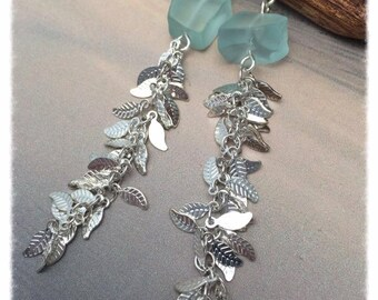High Tide Treasure, Sea Glass Chalcedony Gemstone Earrings, Long, Aqua Blue, Silver