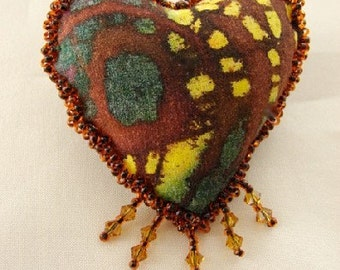 HEART PIN-Batik Fabric-OOAK  (Similar Heart Made to Order by Request)