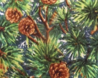 Northern Woodlands Pine Boughs and Pinecones Print Fabric