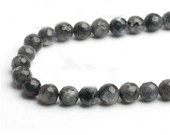 Faceted black larvikite round gemstone loose beads strand 16'' 6mm 8mm 10mm
