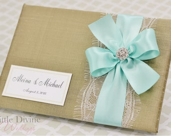 Gold Wedding Guest Book Aqua Blue ribbon Custom Made in your Colors