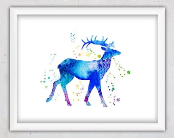 Nursery Digital Art Print, Deer Print, Deer Art Print, Nursery Watercolor Print, Nursery Wall Art, Deer Download Art, Kids Room Art, Animal