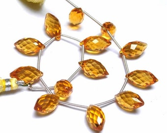 8 Inches - AAA Citrine Quartz Faceted Rice Briolette ( Dew Drops) Size 14x7mm approx