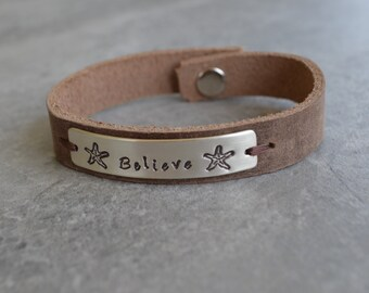 Believe Sterling Silver Leather Bracelet with Starfish