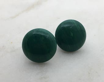Imitation green marble stud earrings. 14mm with surgical steel and nickel free posts.