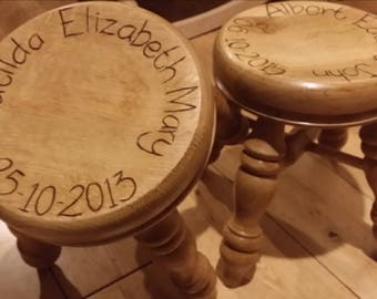 Solid wood, personalised children stool.