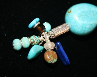 ZEENIA Turquoise, Lapis, Quartz, Citrine and Sterling Pendant