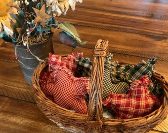 New Homespun Plaid Ornies Bowl Fillers Rag PrImITive Stars Green Red Christmas Handmade Ornaments Tan