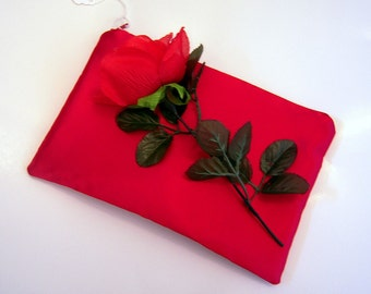 Red Satin Evening Bag with Rose