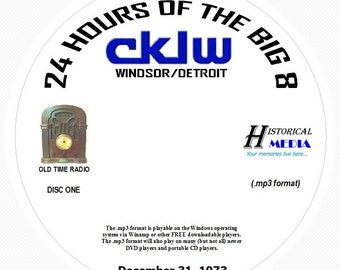 """AIRCHECK CKLW, Windsor/Detroit - """"24 Hours Of The Big 8"""" - 12/31/73 On 2 MP3 CDs"""