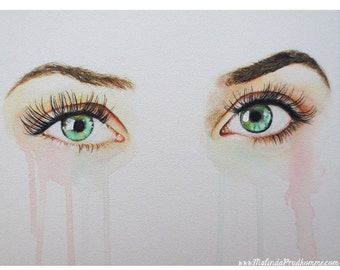 Seeing Into The Soul - Sultry - Eye Art  - ART PRINT - 8 x 10 - By Mixed Media Artist Malinda Prudhomme