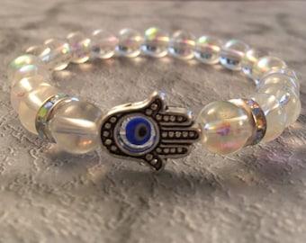 Evil Eye, Hamsa, Evil Eye /Hamsa beaded bracelet with AB crystal beads.