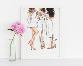 Summer Whites (Fashion Illustration Print) (Fashion Illustration Art - Fashion Sketch prints - Home Decor - Wall Decor )
