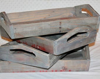Pallet Wood Tray - Rustic Wood Serving Tray - Reclaimed Wood Tray - Vanity Tray - Ottoman Tray - Coffee Table Tray - Breakfast Tray