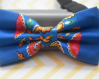 Kids Royal Blue Paisley Bow Tie with Orange Suspenders / Braces  for Baby, Toddlers and Boys - Wedding / Cake Smash / Birthday / Christening