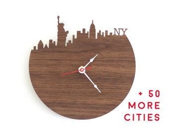 Large Wall Clock - Gift for Him - City Landscape - Walnut or Cherry Modern Wood Clock