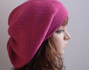 Knit beret, baggy beanie, tam, slouch hat, handmade knitted beret for women, stylish beret