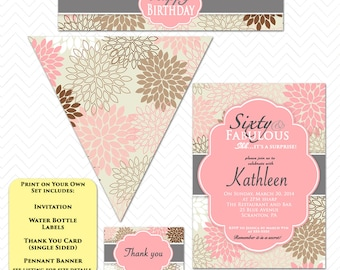 Sixty and Fabulous Party Set Pink 60th Birthday Invitation Floral Surprise Party Invite Set Water Labels Banner Pennant Thank you Invite