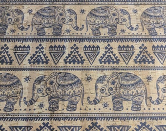 Natural Cork Fabric - Elephant