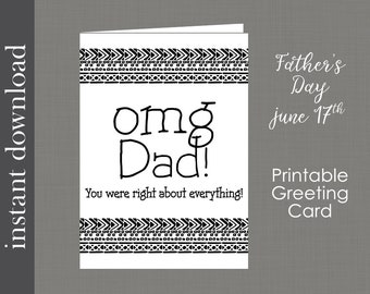 Printable dad card, funny dad card, dad birthday card, card download, card for dad, snarky dad card, last minute card, Father's Day Card