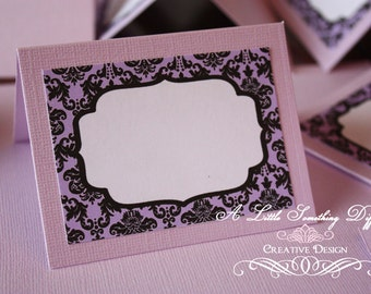 Lilac and Black Damask Tent Cards / Buffet Cards / Lavender and Black Tent Cards / Lavender Buffet Cards / Lilac Description Cards