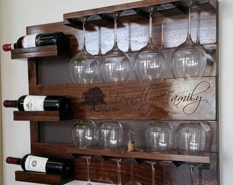 ON SALE Generational Walnut Wood Wall Mounted Wine Rack with Your Laser Engraved Family Name and Vintage, Wine and Liquor Shelf