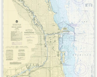 Chicago Harbor 1975 - Lake Michigan, Illinois - Nautical Map Reprint - Great Lakes Harbors #7 - 752