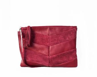 Leather Clutch in Cranberry / Leather Clutch / Leather Clutch Bag / Envelope Clutch /Clutch Bag / Leather Purse / Clutch Purse