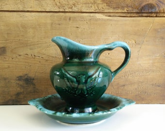 Hull Green Drip Imperial Eagle Pitcher & Saucer