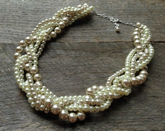 Champagne Ivory Chunky Pearl Necklace, Multi Strand Wedding Necklace, Pearl Statement Necklace on Silver or Gold Chain