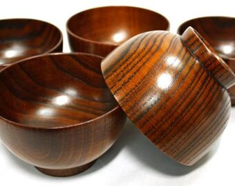 Japanese antique style wooden bowls set lot of 5 lacquered Urushi Natural wood ow-088