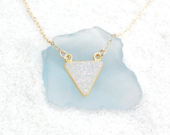 Sparkling White Druzy Triangle Necklace on Gold-Filled Chain