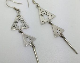 silver dangle triple earrings,silver earrings,triple earrings,silver jewelry,tribal earrings,gypsy earrings,boho earrings,bohemian jewelry