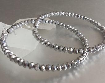 Hoop Earrings -Large Silver Hoops Earring-Statement Earring-Silver Single Hoop-Bling Jewelry -Beadwork Earring-Gift for Her -Sterling Silver