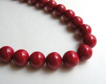 Red Riverstone beads round gemstone 12mm full strand 4312GS