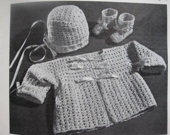 1960's Vintage Crochet PDF Patterns Baby Sweater Bonnet Booties Set B-696