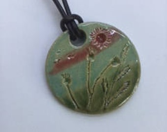 Handcrafted Ceramic Pendant on Leather Cord