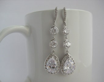 Wedding Long Crystal Earrings Long Bridal Cubic Zirconia Silver Jewelry Wedding Teardrop Rhodium Long Dangle Earrings