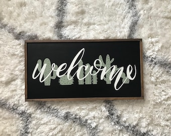 Welcome sign/welcome/cactus/cacti/southwestern/entry/living room/moving/housewarming/rustic wood sign/home